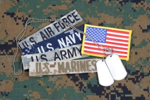 military branches with a flag patch, dog tags and on an army background representing the work that a best chicago veterans attorney does.