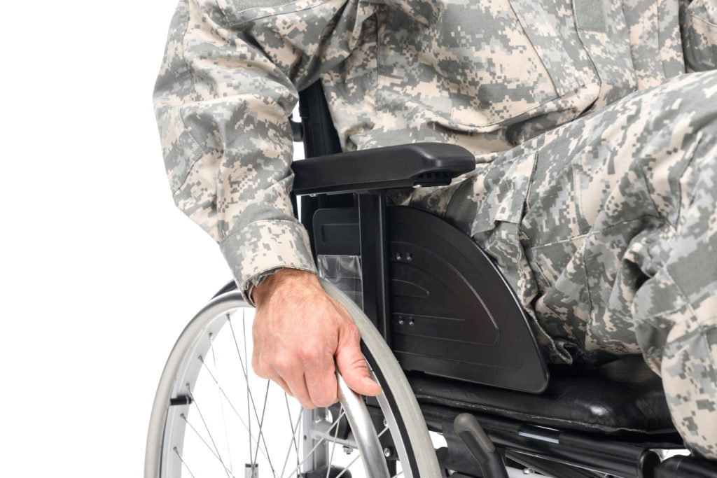disabled veteran image for needing the help of a good veteran's benefits attorney in Cedar Lake.