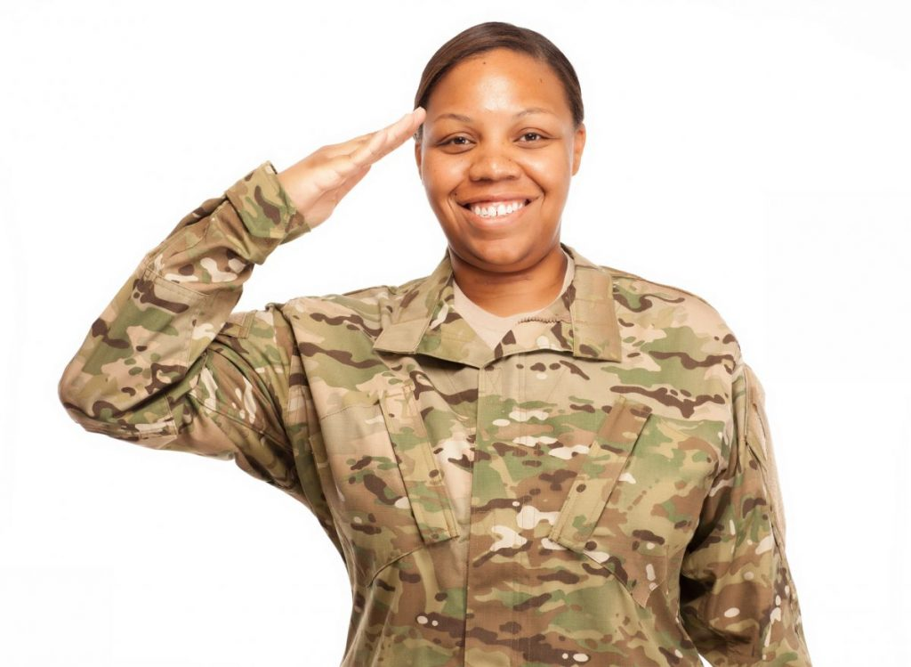 female soldier saluting, if you need to check your VA qualifications speak to a knowledgeable NW Indiana veterans benefits lawyer.